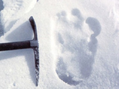 Shipton's Yeti footprint, with an iceaxe showing the scale
